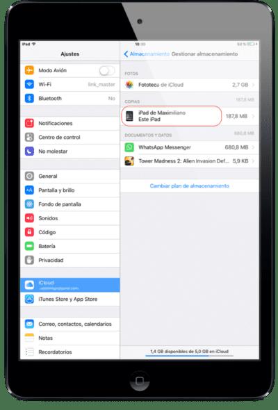 Gestionar almacenamiento iCloud