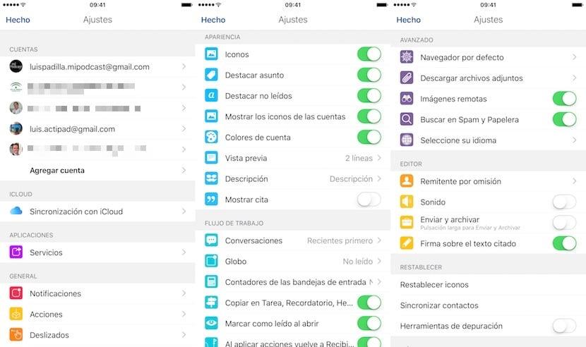 AirMail-Ajustes