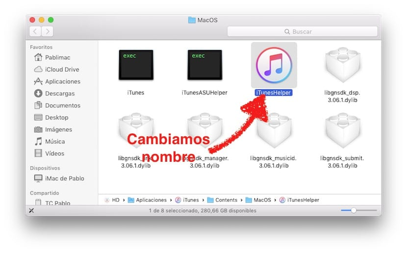 Cambiar de nombre a iTunes Helper