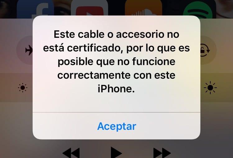 este cable o accesorio no esta certificado por lo que es posible que no funcione con este iphone