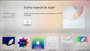 Aplicación Apple Events en el Apple TV 4