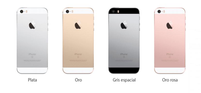 Colores en los que está disponible el iPhone SE