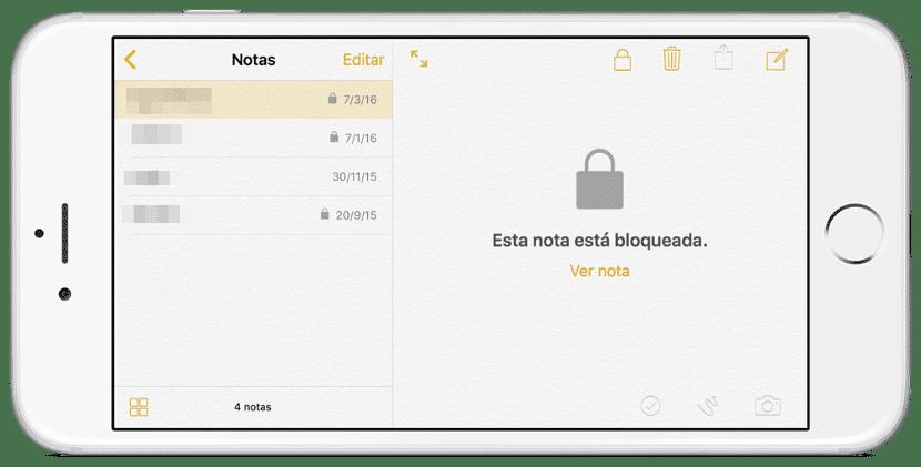 Aplicación Notas en iOs 9.3
