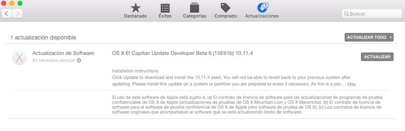Apple lanza OS X 10.11.4 Beta 6 para desarrolladores y Beta Pública