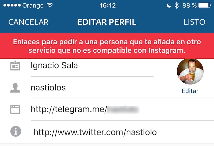 instagram-no-permite-enlaces-telegram-snapchat