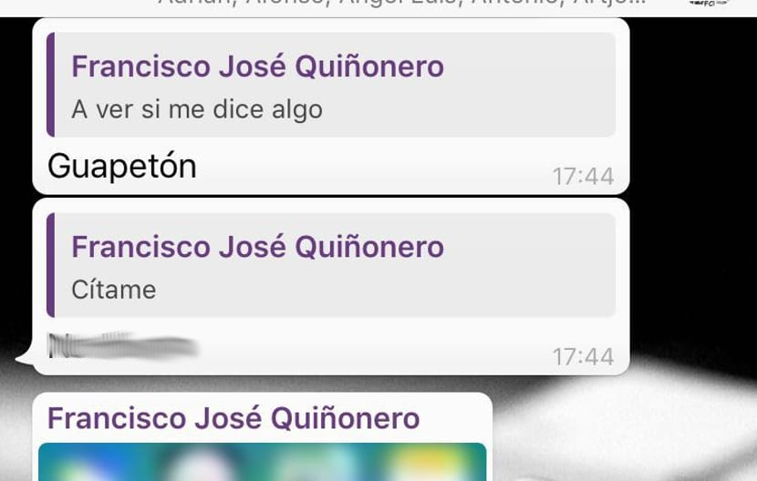Ejemplo de citar mensajes en Whatsapp