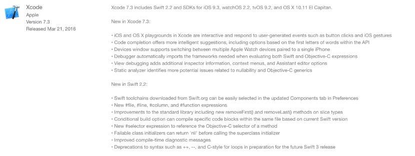 Captura actualización Xcode 7.3