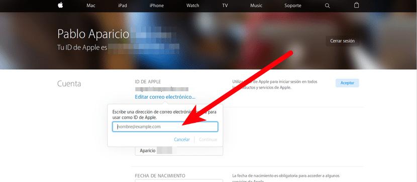 Cambiar ID de Apple