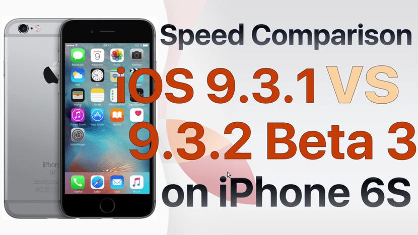 Comparación de velocidad entre iOS 9.3.2 beta 3 y iOS 9.3.1