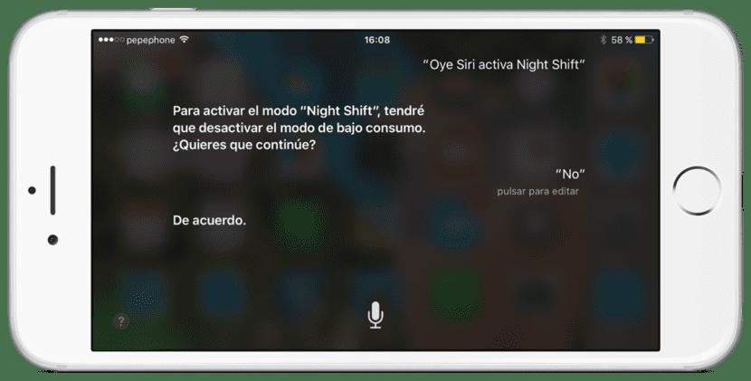 Desactivar Night Shift con Siri