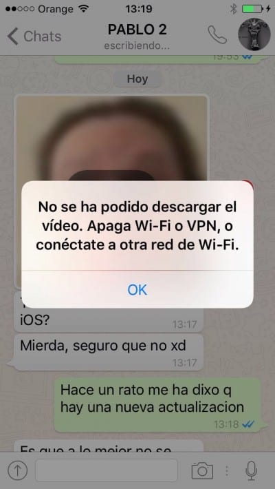 Error al enviar vídeos con WhatsApp en iOS 9.3.1