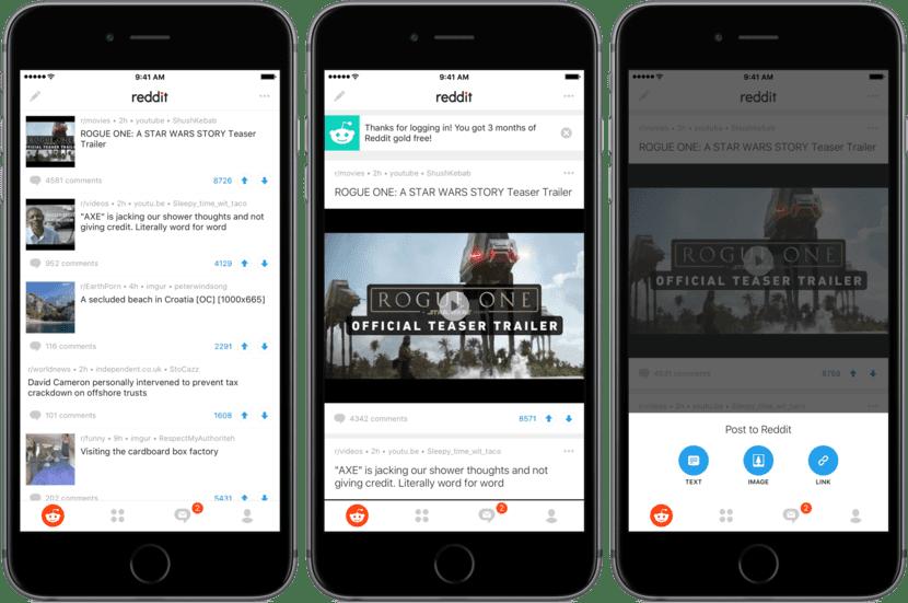 Aplicación oficial para iPhone de Reddit