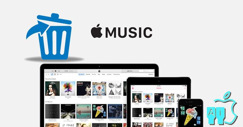 Apple Music y una papelera