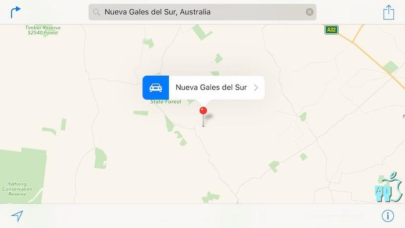 Nueva Gales del Sur en los mapas de Apple