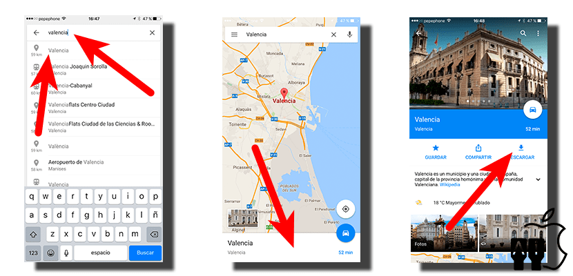 descargar mapas google maps para iphone