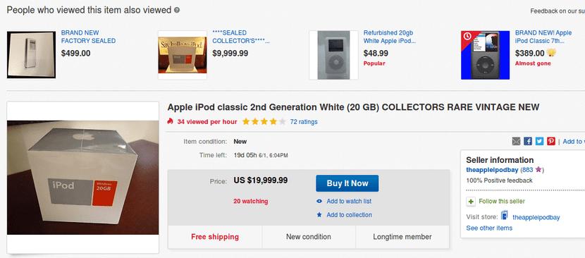 iPod de segunda generación a 20.000$