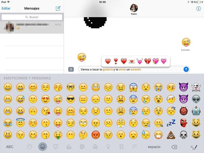 Emojis en la app Mensajes de iOS 10