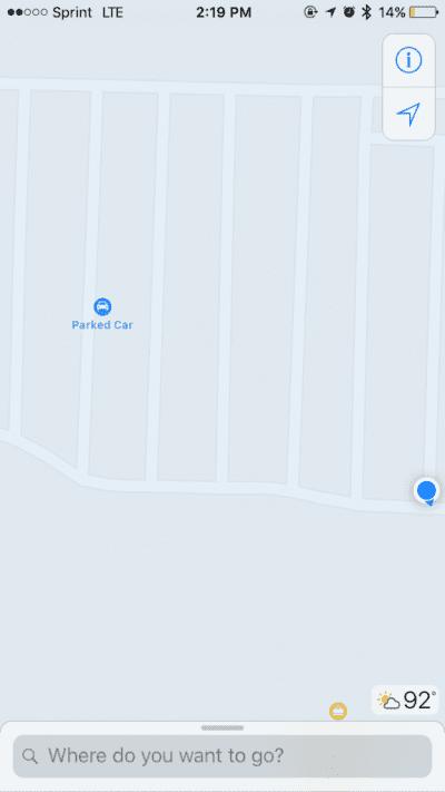 Mapas de iOS 10 indicando dónde hemos aparcado
