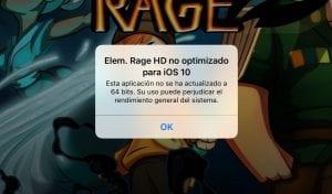 Aviso al instalar una app que no es de 64 bits en iOS 10'