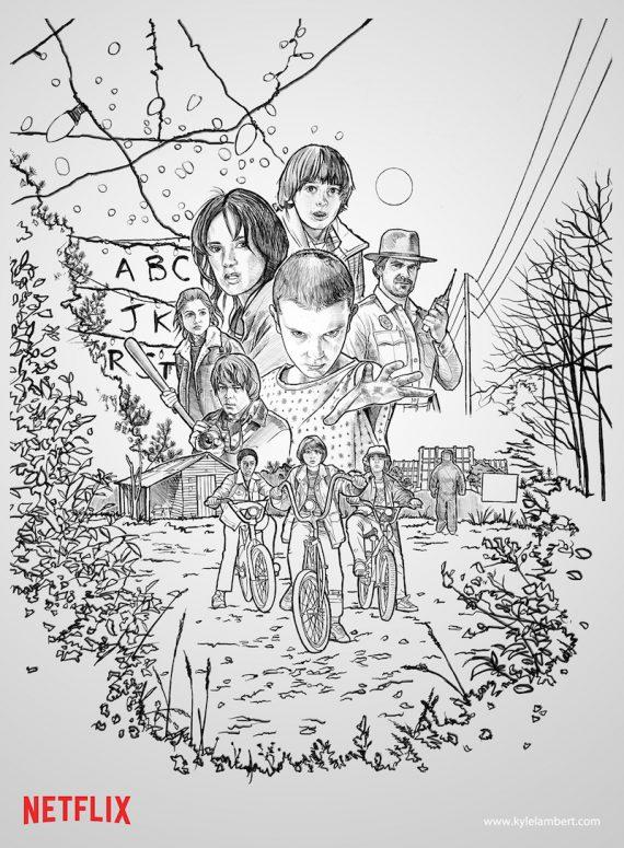Boceto original que con el tiempo se convirtió en el afiche final de  Stranger Things.