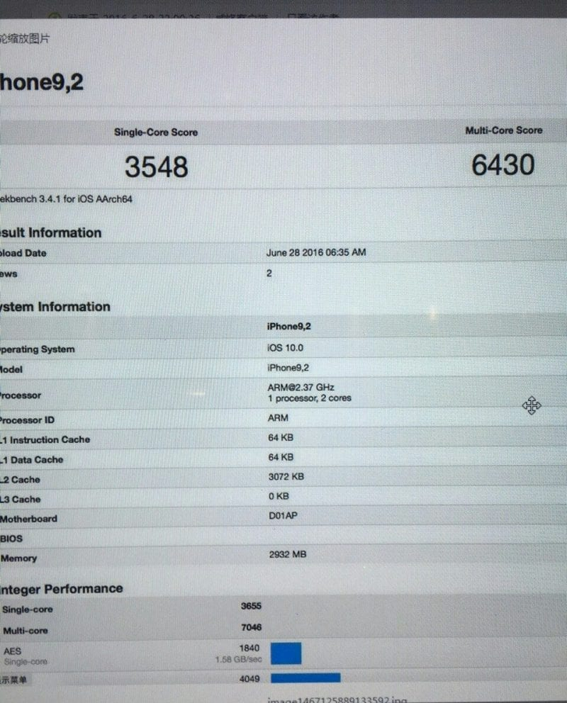Benchmarks del iPhone 7
