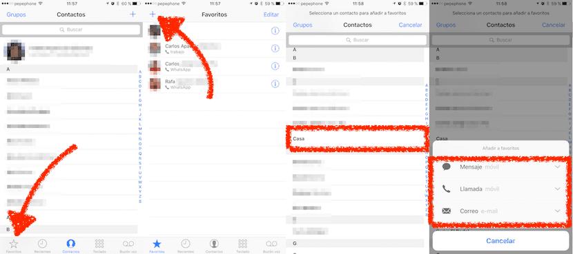 Añadir favoritos iOS 10