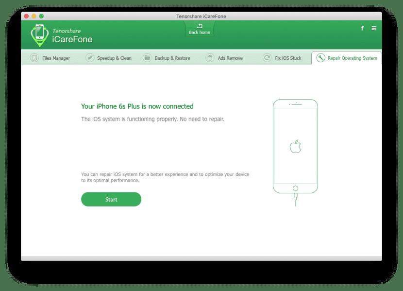 Reparar sistema con iCareFone