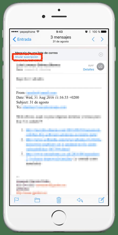 anular suscripción Mail iOS 10
