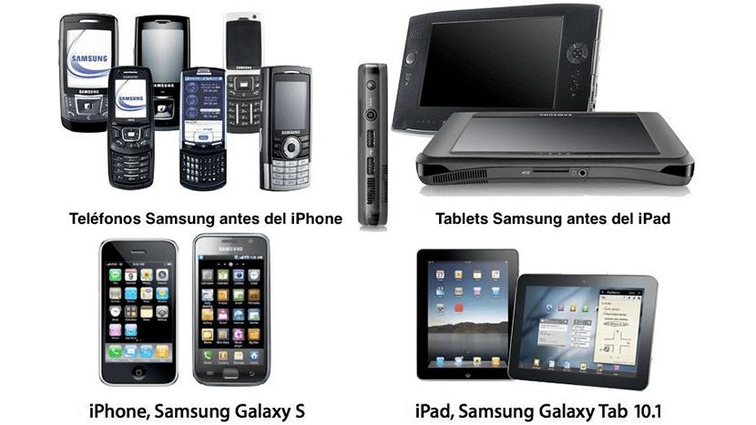 Diseños de Samsung antes y después de Apple