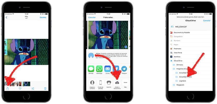 Enviar GIFs por WhatsApp desde iCloud Drive