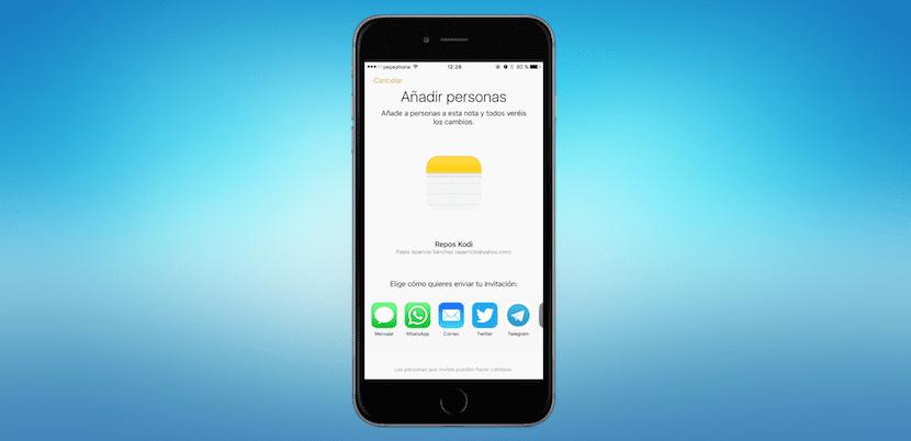 Enviar Notas colaborativas iOS 10