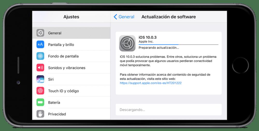 Actualización iOS 10.0.3