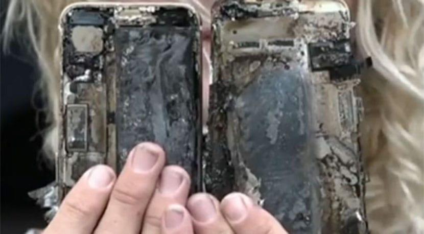 iPhone 7 incendiado