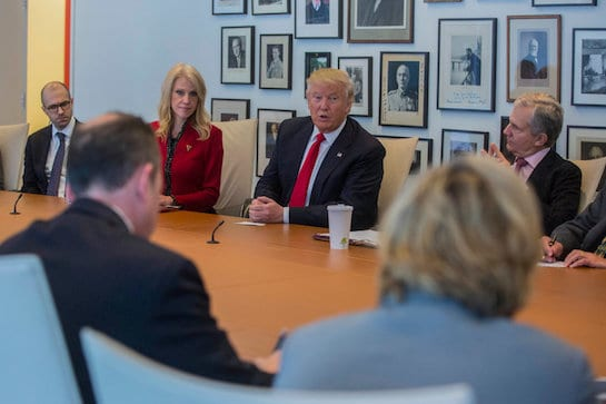 Donald Trump en las oficinas del diario The New York Times