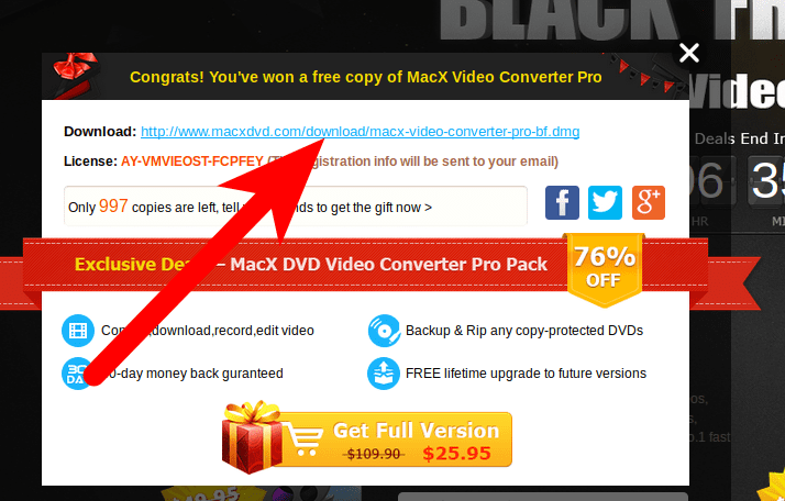 Pedir copia de MacX Video Converter del Black Friday