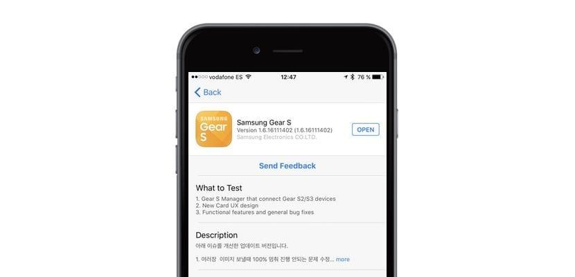 Gear S aplicación