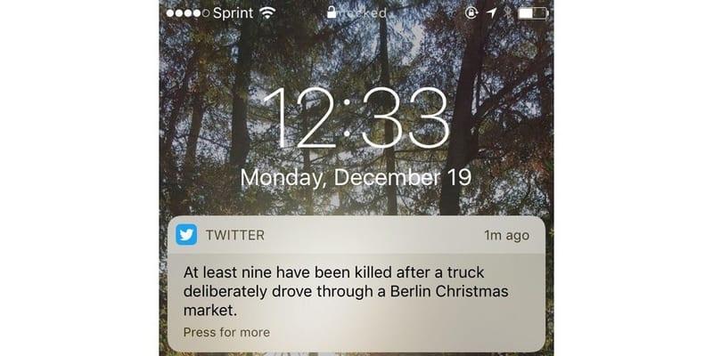 Notificación de una noticia de última hora en Twitter