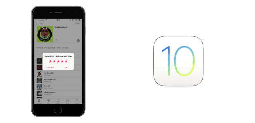Valoración mediante estrellas en iOS 10