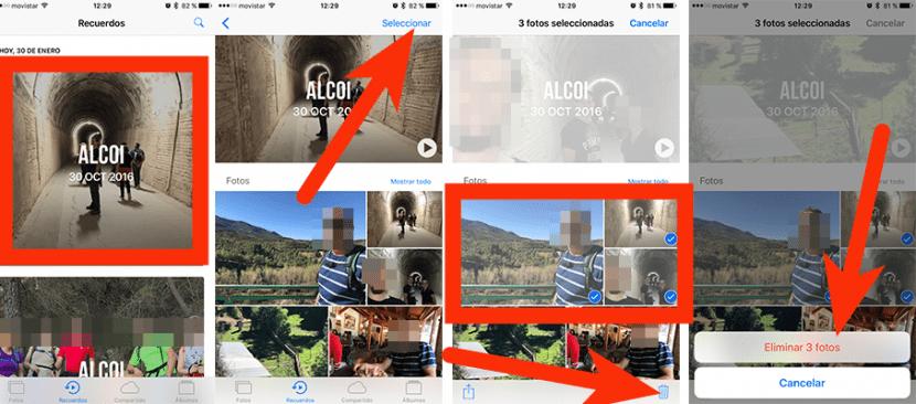Eliminar fotos Recuerdos iOS 10