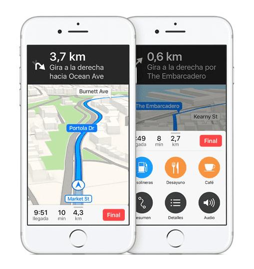 Navegación en Mapas de iOS 10