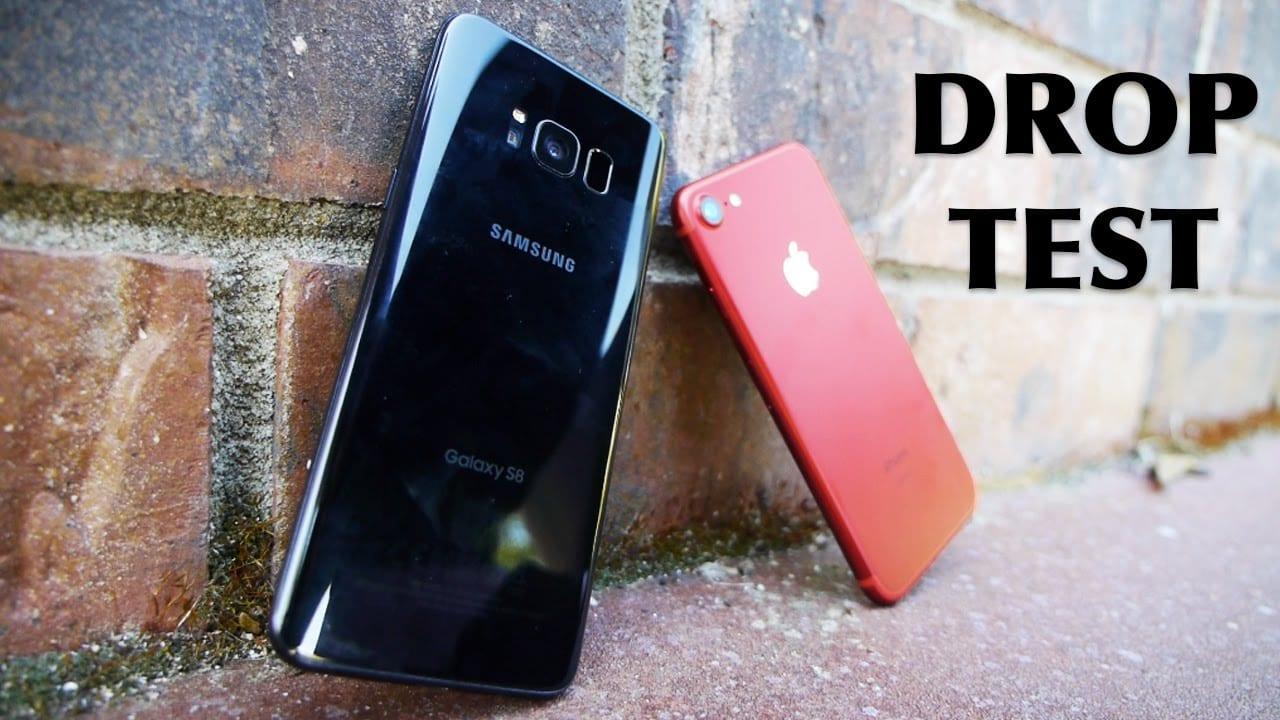 Resistencia a la caída entre un iPhone 7 y un Samsung Galaxy S8