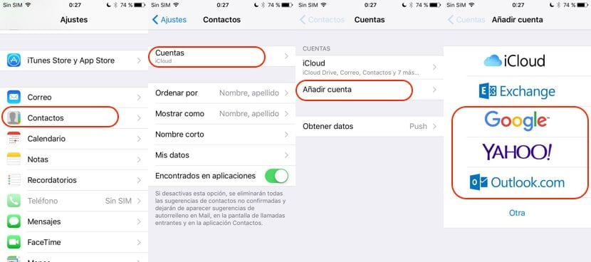 Importar contactos iPhone desde Gmail Outlook Yahoo