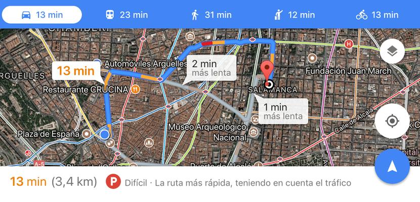 Google Maps ahora nos avisa de la dificultad para aparcar en la zona a la que vayamos