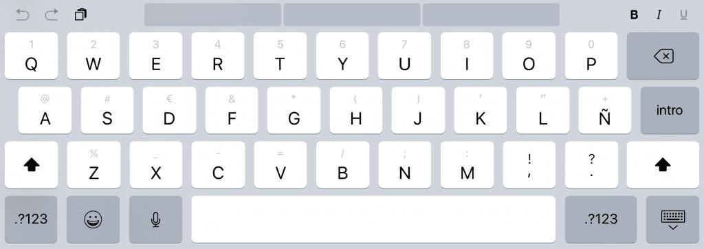 Teclado QuickType iPad Pro con iOS 11