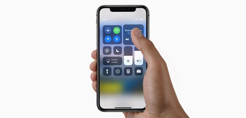 Centro de control del iPhone X