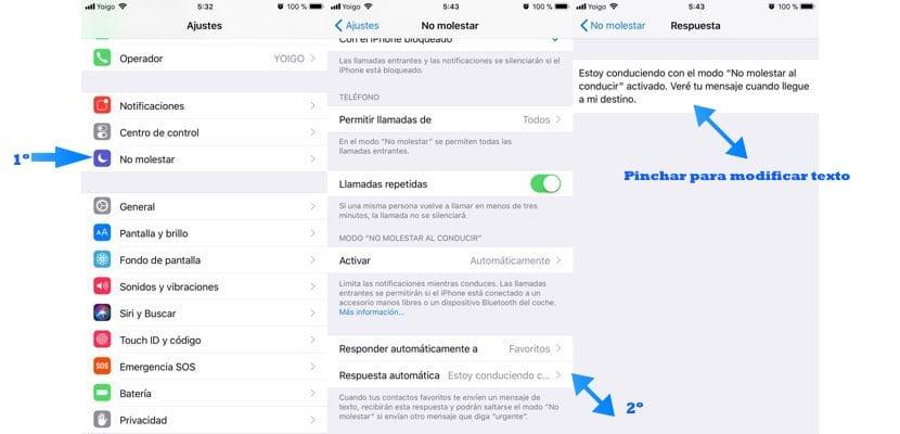 modificar texto predeterminado de no molestar al conducir en iOS 11