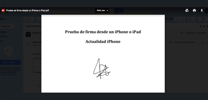 Resultado final de la firma en iphone o ipad desde Mail