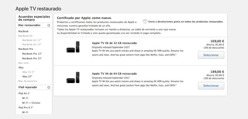 Apple TV 4K restaurados en España