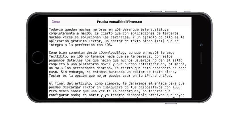Textor editor TXT para iOS