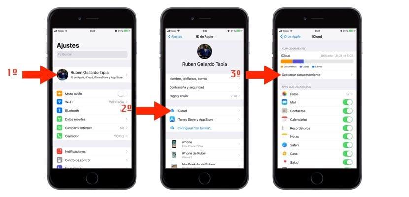 Cambio de plan de iCloud desde iPhone